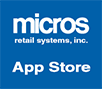 Micros Retail Systems - App Store Logo with blue background and white lettering